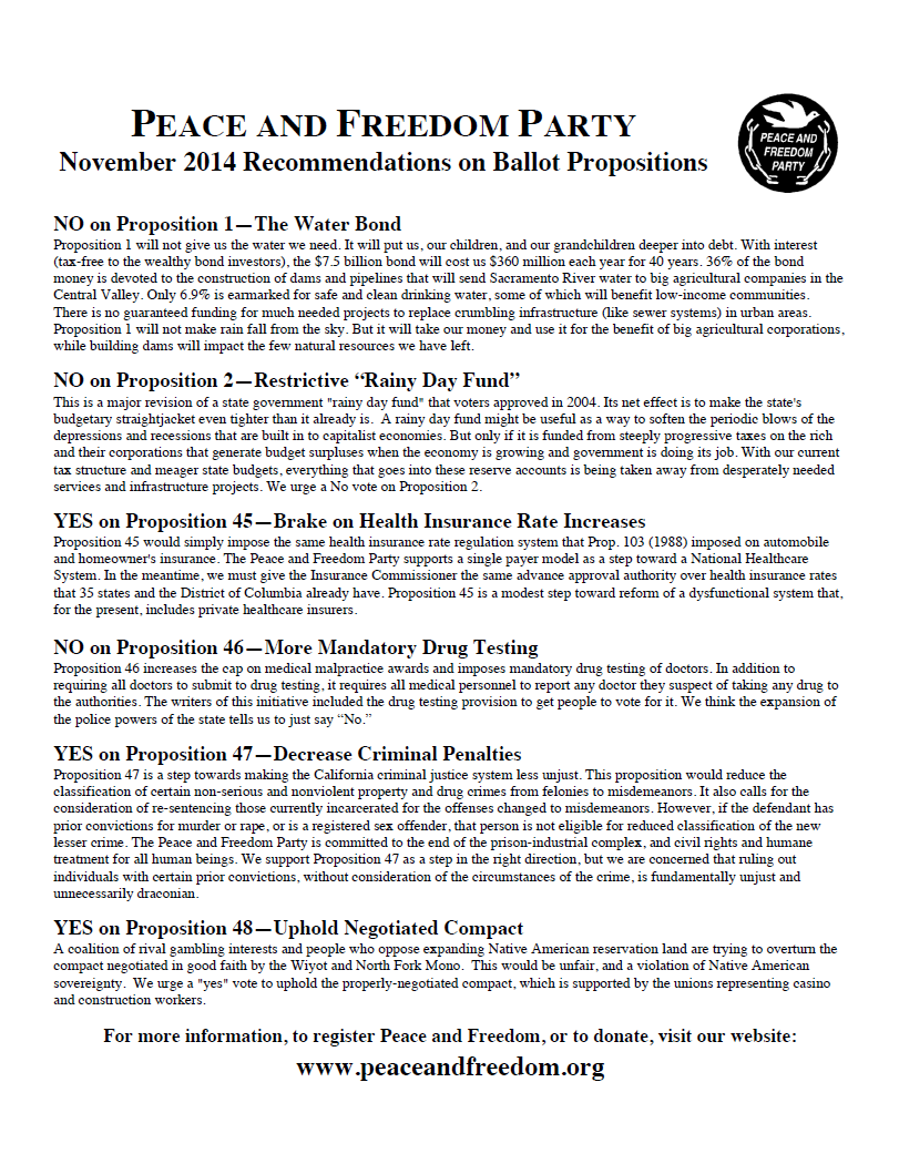 Recommendations on Ballot Propositions